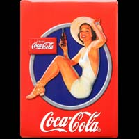 PLAQUE AMERICAINE DECO COCA COLA PIN UP RED- Plaque deco publicitaire  métal 15x21 cm