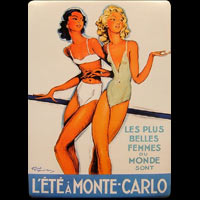 ANCIENNE PLAQUE PUBLICITAIRE PIN UP MONTE CARLO