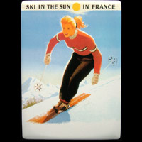 Plaque publicitaire ski in the sun in France ski en France neige tourisme sports d'hiver