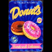 DONUTS BEST IN TOWN LOGO COCA BOUTEILLE EVOLUTION PLAQUE AMERICAINE US HAMBURGER USA McDO
