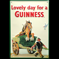 BIERE GUINESS EXTRA STOUT LOVELY DAY FOR A GUINNESS Plaque publicitaire relief métal 20x30 cm LOGO GUINNESS Plaque publicitaire relief GUINESS BIERE