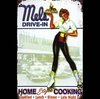 MELS DRIVE IN PIN UPROUTE 66 PLAQUE METAL ROUTE 66 PIN UP PINUP