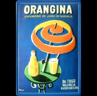 ORANGINA VILLEMOT TABLE PARASOL PLAQUE EMAILLEE