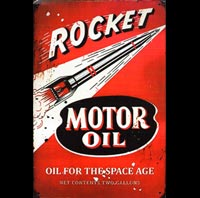 plaque vintage essence fusée rocket motor oil