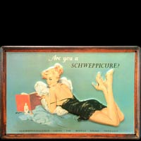 PIN UP SCHWEPPES BLUE Plaque publicitaire relief métal 30x20 cm
