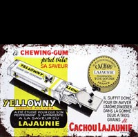 CHEWING GUM CACHOU LAJAUNIE YELLOWNY PLAQUE METAL VINTAGE