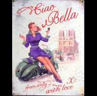 VESPA PIN UP CIAO BELLA ITALIA