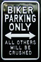BIKER PARKING ONLY ROAD SIGN Plaque pub métal 30x45 cm Space for MINI PARKING ONLY