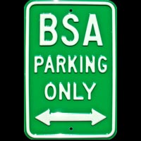 BSA PARKING ONLY - BSA  PARKING ONLY PLAQUE PARKING