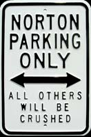 NORTON PARKING ONLY ROAD SIGN Plaque pub métal 30x45 cm