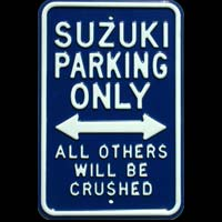SUZUKI PARKING ONLY PARKING SIGN Plaque pub métal 30x45 cm SUZUKI PARKING ONLY
