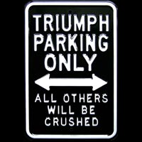 TRIUMPH PARKING ONLY PARKING SIGN TRIUMPH Plaque pub métal 30x45 cm TRIUMPH PARKING ONLY