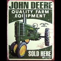 PLAQUE AMERICAINE DECO JOHN DEERE QUALITY FARM EQUIPMENT SOLD HERE Plaque VINTAGE - Plaque métal 31,5 x 40,5 cm