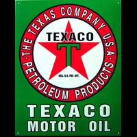 PLAQUE AMERICAINE US TEXACO MOTOR OIL - THE TEXAS COMPANY USA PETROLEUM PRODUCTS - Plaque pub métal 31,5x40,5 cm