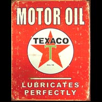 Plaque pub style vintage TEXACO MOTOR OIL LUBRICATES PERFECTLY