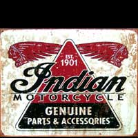 INDIAN MOTORCYCLE PARTS & ACCESSORIES - Plaque métal style vintage 40,5x31,5 cm