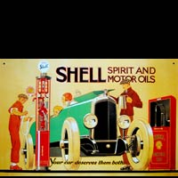 Plaque publicitaire ancienne SHELL SPIRIT AND MOTOR OIL - Plaque vintage métal 42x27,5 cm