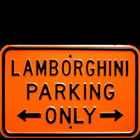 LAMBORGHINI PARKING ONLY ROAD SIGN Plaque pub métal 30x45 cm LAMBORGHINI PARKING ONLY