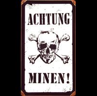 ACHTUNG MINEN ATTENTION MINES PLAQUE METAL