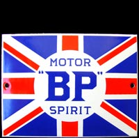 Plaque émaillée BP MOTOR OIL GB UNION JACK