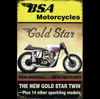 BSA moto GOLD STAR plaque déco