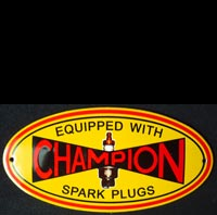 Plaque émaillée CHAMPION SPARK PLUGS BOUGIE MOTOR OIL USA