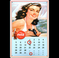 COCA COLA PIN UP CALENDRIER METAL métal 20x30 cm