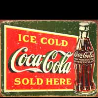 PLAQUE AMERICAINE DECO ICE COLD COCA COLA GREEN
