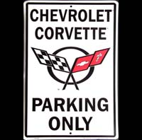 PLAQUE AMERICAINE DECO CORVETTE PARKING ONLY PLAQUE METAL