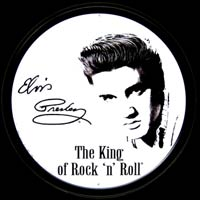 ELVIS PRESLEY - THE KING OF ROCK'N ROLL - Plaque métal déco ronde découpée 30 cm