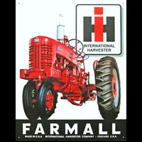 FARMALL INTERNATIONAL HARVESTER TRACTEUR PLAQUE PUBLICITAIRE USA