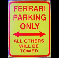 FERRARI PARKING ONLY  Plaque pub métal 30x40 cm FERRARI PARKING ONLY