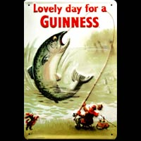 BIERE BAR PUB PECHEUR POISSON GUINESS LOVELY DAY FOR A GUINNESS Plaque publicitaire relief métal 20x30 cm