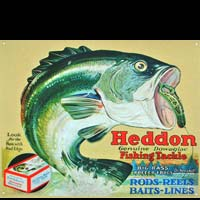 HEDDON FISHING TACKLE APPATS POISSONS PLAQUE PUBLICITAIRE