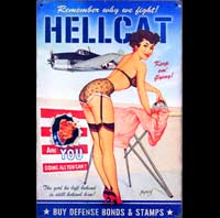 plaque vintage HELLCAT pin up  jet avion pin up essence fusée rocket motor oil