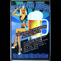PLAQUE METAL ICEBERG BEER PIN UP