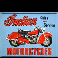 PLAQUE AMERICAINE US INDIAN MOTORCYCLES SALES AND SERVICE PLAQUE PUBLICITAIRE DECO MOTO