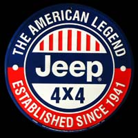 PLAQUE AMERICAINE DECO JEEP ROUND VOITURE 4X4 THE AMERICAN LEGEND