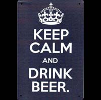 Plaque métal 20x30 cm KEEP CALM AND DRINK BEER