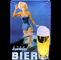 plaque metal PINUP KUHLES BIERE mercedes benz 500 SL germany