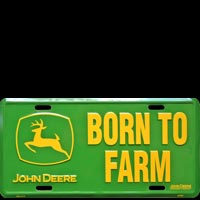 JOHN DEERE BORN TO FARM - PLAQUE LICENSE PLATE USA