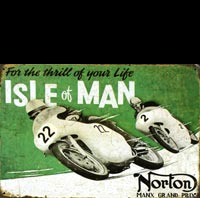 plaque vintage moto NORTON MOTOCYCLES ILE DE MAN