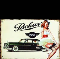 PACKARD USA 1951 PINUP PLAQUE METAL ROUTE 66 PIN UP PINUP