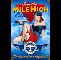 PLAQUE AMERICAINE DECO HOTESSE DE L'AIRPIN UP MILE HIGH HOTESSE DE L'AIR BAS COUTURE