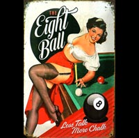 BILLARD plaque déco vintage PIN UP 8 BALL EIGHT BALL