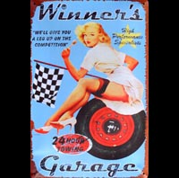 PINUP WINNER GARAGE  - Plaque métal 20x30cm