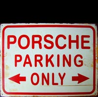 plaque métal vintage PORSCHE PARKING ONLY