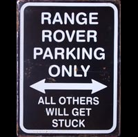 RANGE ROVER PARKING ONLY - Plaque métal 30x40 cm