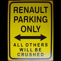 RENAULT PARKING ONLY - Plaque métal vintage 30x40 cm