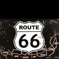 PLAQUE METAL ITINERAIRE ROUTE 66 PIN UP PINUP